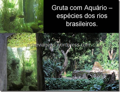 gruta com aquário