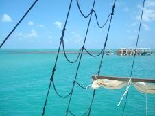 Vista da gávea do barco Pirata.