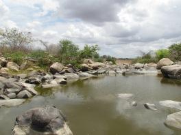 As rochas com as gravuras em baixo-relevo ficam em um rio.